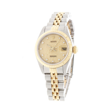 ROLEX Damenarmbanduhr Datejust Stahl / Gold mit Diamantzifferblatt Full Set